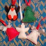 Новогодний декор.Елочные украшения.Игрушки ,магниты из фетра