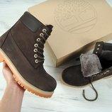 Зимние ботинки Timberland Brown Nubuck, женские ботинки с натуральным мехом