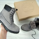 Зимние ботинки Timberland Grey, мужские ботинки с натуральным мехом