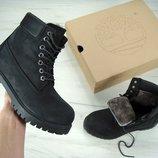 Зимние ботинки Timberland Black, мужские ботинки с натуральным мехом