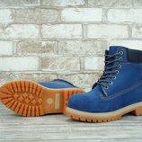 Зимние ботинки Timberland Blue, женские ботинки с натуральным мехом