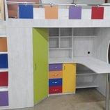 Детская кровать-чердак с рабочей зоной, угловым шкафом, тумбой и лестницей-комодом кл21-8