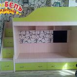 Кровать детская двухъярусная с лестницей-комодом и полками ал9-2