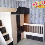 Детская двухъярусная кровать-трансформер со шкафом, тумбой, ящиками и лестницей-комодом ал17