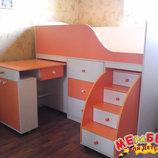 Кровать детская с выдвижным столом, ящиками и выдвижной лестницей-комодом дл1