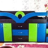Кровать детская с тумбами, ящиками и лестницей-комодом дл6