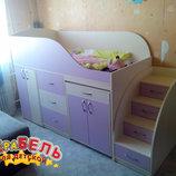 Кровать детская с выдвижным столом, ящиками, тумбой и лестницей-комодом дл7