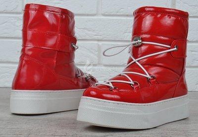 Дутики женские зимние сапоги на платформе красные Red winter boots