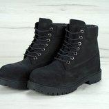 Зимние ботинки Timberland Black, мужские ботинки с иск. мехом