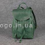 Зеленый рюкзак из кожи крейзи хорс ручной работы K00027-6