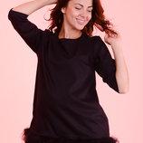 Нарядная блуза для беременных с натуральным мехом ламы