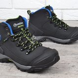 Кожаные термо ботинки зима мужские трекинговые с защитой носка усиленная модель