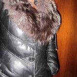 Пальто кожа и мех чернобурки р хс