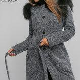 Кардиган-Пальто с натуральным мехом Кортни Голубой