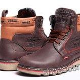 Зимние кожаные ботинки Levi's Classic M 76 - 03 коричневые