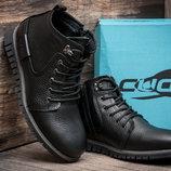 Зимние ботинки мужские Cuddos, черные, натуральная кожа