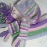 комплект шапка шарф перчатки ангора новый