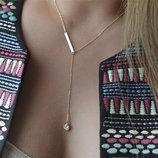 Цепочка ожерелье кристалл и пластина