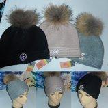 Брендовые шапки Tory Burch с натуральным бубоном,шерсть,Италия