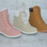 Стильные женские ботинки на зиму Timberland, три цвета