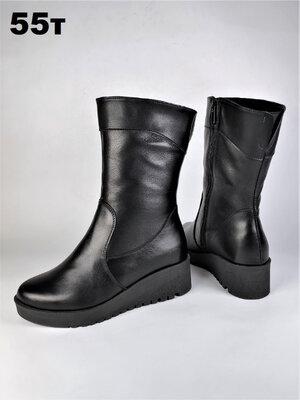 Распродажа Зимние кожаные сапоги на широкую ногу на средней танкетке. До 42р.