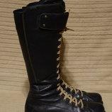 Мягкие высокие черные кожаные сапоги с двойной застежкой Camper 39 р.