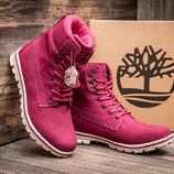 Зимние женские ботинки Timberland, высокие, малиновые, на меху,