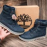 Зимние ботинки Timberland, унисекс, высокие, темно-синие, на меху