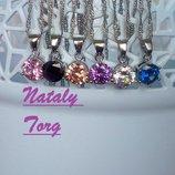 Комплект, набор стерлинговое серебро кулон, цепочка и серьги круг белый, розовый, синий
