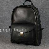 Черный кожаный рюкзак среднего размера с потайным карманом K00028-6