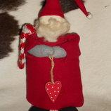 шикарная интерьерная кукла Новогодний Гном из Англии ручная работа 33 см