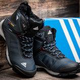 Кроссовки Adidas Climaproof, зимние, высокие, на меху, темно-синие