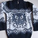 Толстый свитер Тигр на короткой змейке рост 116 - 140