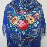 Самый большой размер Платок народный шерстянойпавлопосадский р140х140 см цвета электрик