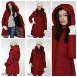 Теплая зимняя куртка для беременных, бордо