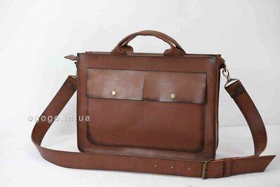 Коричневый кожаный портфель для настоящего мужчины ручной работы под заказ K00024-11