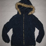 9-10 лет, тёплая куртка H&M еврозима, синяя, девочке
