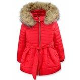 Зимняя куртка красная,ментол,черная 104-116р