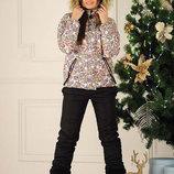 Женский тёплый горнолыжный костюм комбинезон куртка 2140 Принт Мех Комби