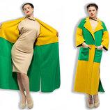 Стильное женское длинное пальто-кардиган 5-841 Мозаика в расцветках