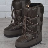 Дутики женские луноходы термо Moon Boots Olive самая теплая обувь