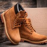 Ботинки мужские зимние Timberland Premium Boot 6, высокие, рыжие, нубук