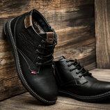 Зимние мужские ботинки Levi's Winter, черные, натуральная кожа