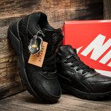 Зимние мужские кроссовки Найк Air Huarache, на меху, черные