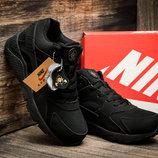 Зимние мужские кроссовки Найк Air Huarache, на меху, черный,