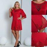 Фантастическое платье с перфорацией, красивые цвета, р.46-52