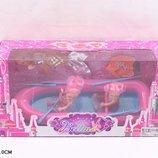 Кукла маленькая 66821 в лодке с веслами, 2 куклы, кукла-русалка,рыбка