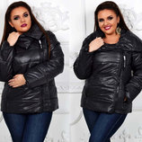 Женская стильная куртка на синтепоне демисезон в больших размерах 1126-1 Воротник Змейка в расцвет