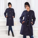 Стильное женское пальто на синтепоне в больших размерах 467 Кашемир Реглан Пояс в расцветках.