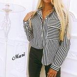 Женская блуза рубашка полоска хлопок